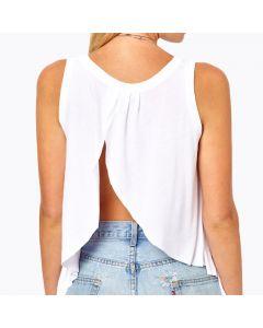 Ermeløs t-skjorte med åpen rygg og rund hals.