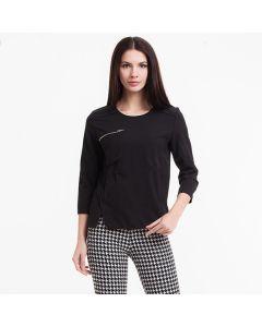 Trendy bluse med rund hals og glidelås lomme.