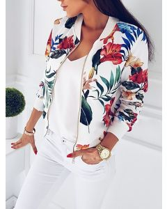 Kort blomstrete cardigan jakke med glidelås med rund hals