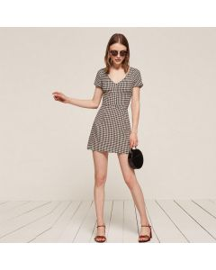 Retro A-linjeformet V hals kortermet kjole