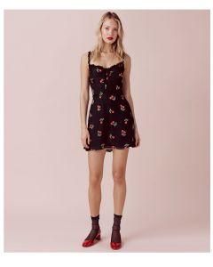 Kort mønstrete kjole med blondestropper