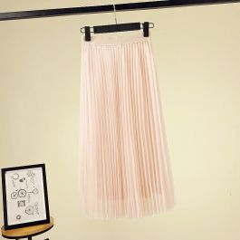 44081233 Trendy halvlangt plisse skjørt med strikk i midjen.