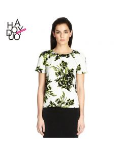 Blomstrete chiffon t-skjorte med rund hals og glidelås