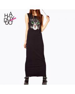 Tøff lang kjole med dyremotiv