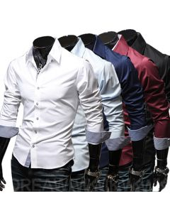 Slim Fit langermet fritid skjorte for menn og gutter